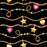 Golden chains white and pink gemstones pattern. Royalty Free Stock Photo