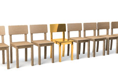 Golden chair in a row Royalty Free Stock Photography