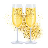 Golden champagne on white. Champagne glasses icon. Golden bubbles of air, a festive toast, a reason for joy. Flat vector cartoon illustration. Objects isolated Stock Photography