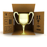 Golden champion cup delivery Royalty Free Stock Image