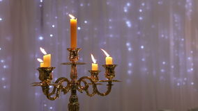 Golden chandelier with candles stock video footage