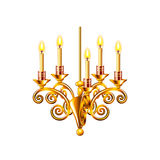 Golden chandelier isolated on white vector Stock Photography