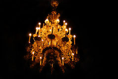 Golden chandelier in vintage style. Royalty Free Stock Photography