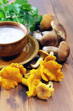 Golden chanterelles and penny bun mushroom soup with cup and spo Stock Photography