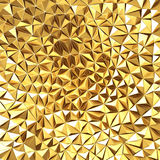 Golden chaotic poligons pattern background. 3d render illustration Royalty Free Stock Photo