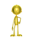 Golden character with around pose. Illustration of 3d golden character with around pose Royalty Free Stock Images