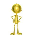 Golden character with around pose. Illustration of 3d golden character with around pose Royalty Free Stock Photo