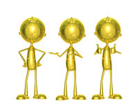Golden character with different pose. Illustration of 3d golden character with different pose Royalty Free Stock Photography