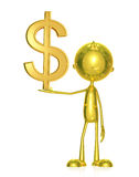 Golden character with dollar sign. 3d Illustration of golden character with dollar sign Royalty Free Stock Photo