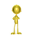 Golden character with folding hand. Illustration of 3d golden character with folding hand Royalty Free Stock Photos