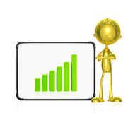 Golden character with graph Stock Photo
