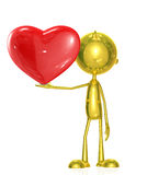 Golden character with heart Stock Images