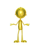 Golden character with presentation pose Royalty Free Stock Photos