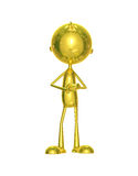 Golden character with presenting relation Royalty Free Stock Photo