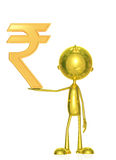 Golden character with rupees sign Stock Image