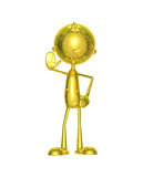 Golden character with stop. Illustration of 3d golden character with stop vector illustration