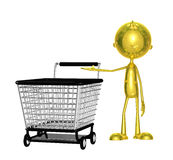 Golden character with trolley Royalty Free Stock Images