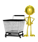 Golden character with trolley Stock Photos