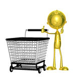 Golden character with trolley Royalty Free Stock Photo