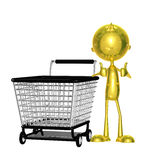 Golden character with trolley Stock Photography