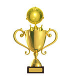 Golden character with trophy. 3d Illustration of golden character with trophy Stock Photos