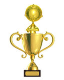 Golden character with trophy Stock Image