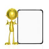 Golden character with white board. Illustration of 3d golden character with white board Royalty Free Stock Image