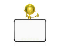 Golden character with white board. Illustration of 3d golden character with white board Royalty Free Stock Photos