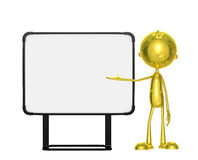 Golden character with white board. Illustration of 3d golden character with white board Stock Image