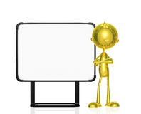 Golden character with white board. Illustration of 3d golden character with white board Royalty Free Stock Photo