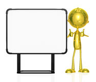 Golden character with white board Royalty Free Stock Photos