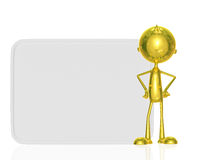 Golden character with white board Royalty Free Stock Photo