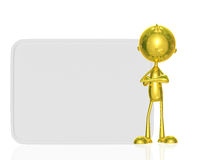 Golden character with white board. Illustration of 3d golden character with white board Stock Photography