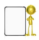 Golden character with white board. Illustration of 3d golden character with white board Stock Photos