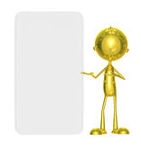 Golden character with white board. Illustration of 3d golden character with white board Stock Images