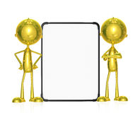 Golden character with white board. Illustration of 3d golden character with white board Royalty Free Stock Photography
