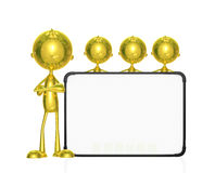 Golden character with white board. Illustration of 3d golden character with white board Royalty Free Stock Images