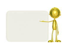 Golden character with white board. Illustration of 3d golden character with presenting pose Royalty Free Stock Photo