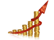 Golden chart with red pointer Stock Photography