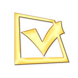 Golden check box Royalty Free Stock Photos