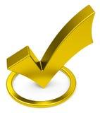 The golden check mark Stock Image