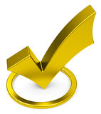 The golden check mark Royalty Free Stock Photos