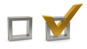 Golden check mark and silver check box Royalty Free Stock Photos