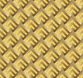 Golden check, square, plaid  seamless pattern. Chequered geometrical background. cage texture Stock Photos