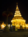 Golden Chedi ,Wat Phra That Hariphunchai Royalty Free Stock Images