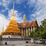 Golden Chedis and Royal Pantheon at Wat Phra Kaew. Bangkok, Thailand stock photo