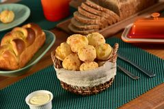 Golden cheese bread balls Stock Image