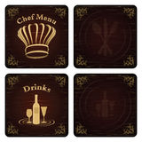 Golden Chef and drink menu cover vector set Stock Images