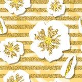 Golden cherry blossom seamless pattern. Jpg illustration Stock Photo