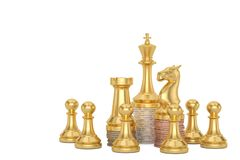 Golden chess and coin stacks  isolated on white background 3D illustration.  vector illustration
